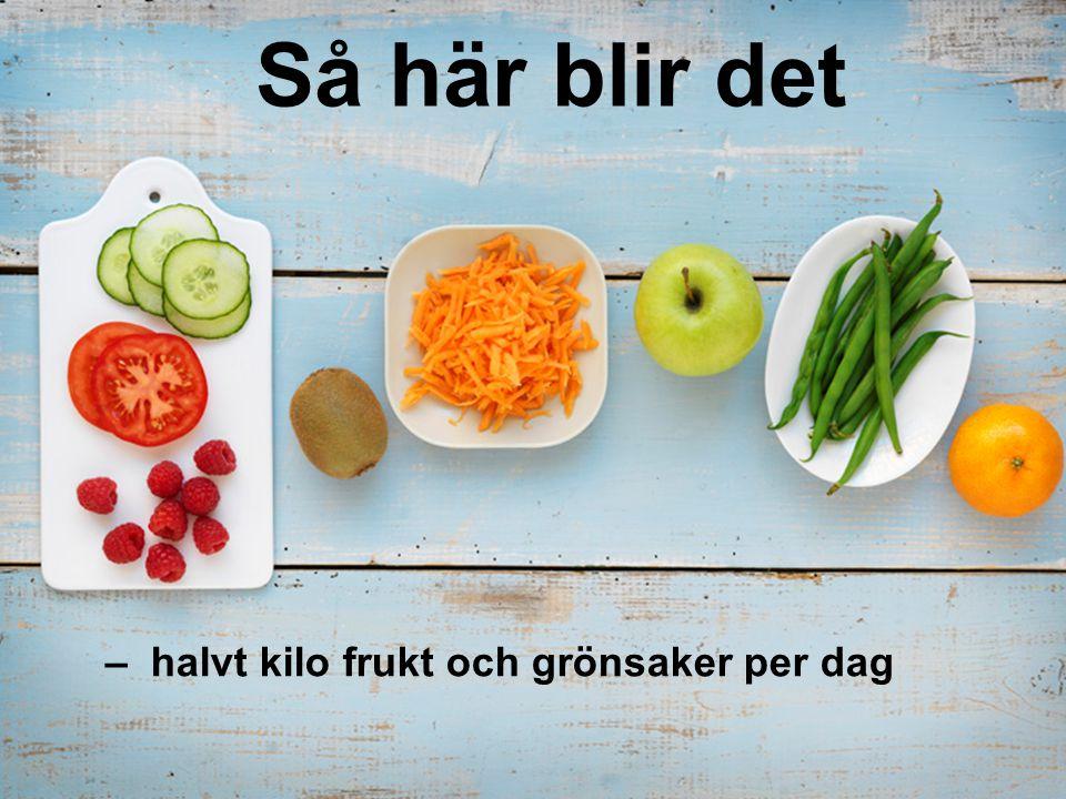 Så här blir det – halvt kilo frukt och grönsaker per dag