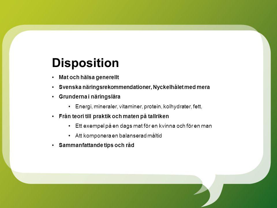 Disposition Mat och hälsa generellt