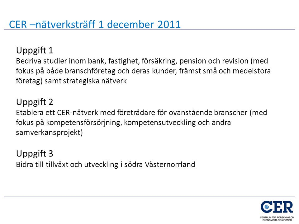 CER –nätverksträff 1 december 2011