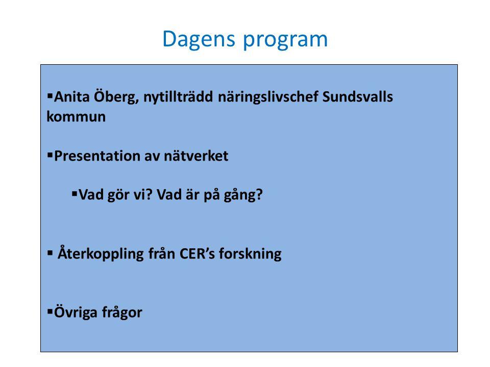 Dagens program Anita Öberg, nytillträdd näringslivschef Sundsvalls kommun. Presentation av nätverket.