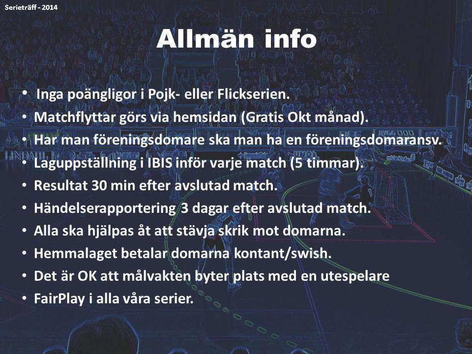 Allmän info Inga poängligor i Pojk- eller Flickserien.