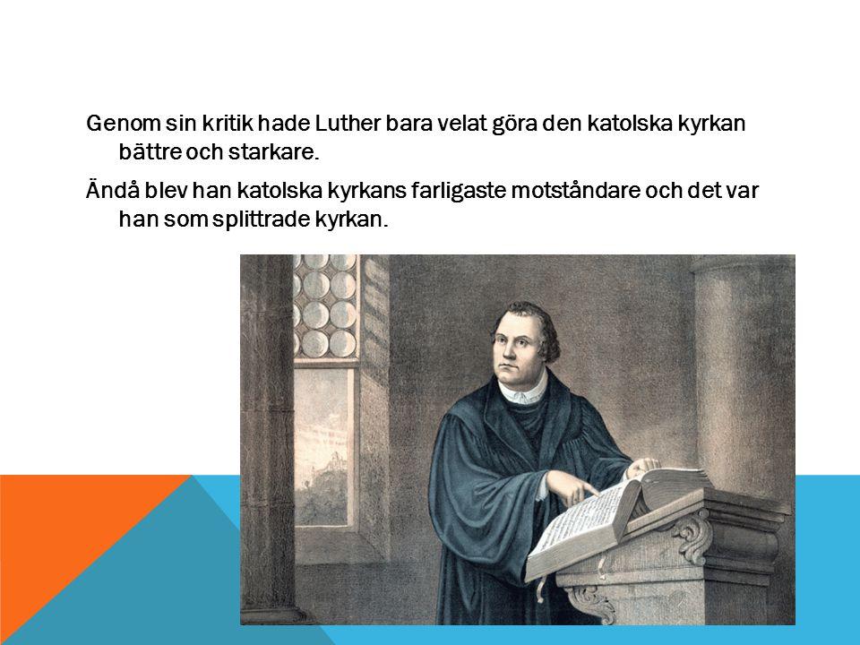Genom sin kritik hade Luther bara velat göra den katolska kyrkan bättre och starkare.