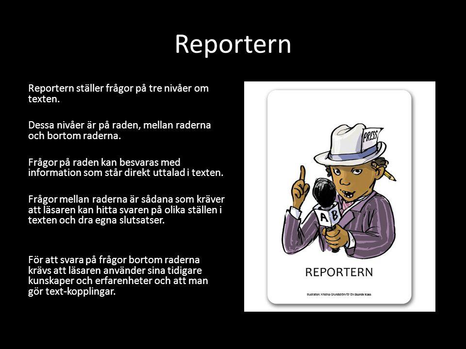Reportern Reportern ställer frågor på tre nivåer om texten.