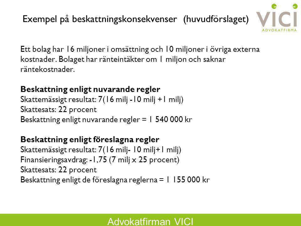 Exempel på beskattningskonsekvenser (huvudförslaget)