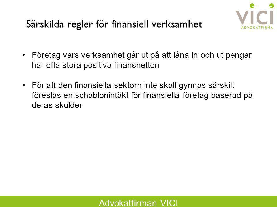 Särskilda regler för finansiell verksamhet