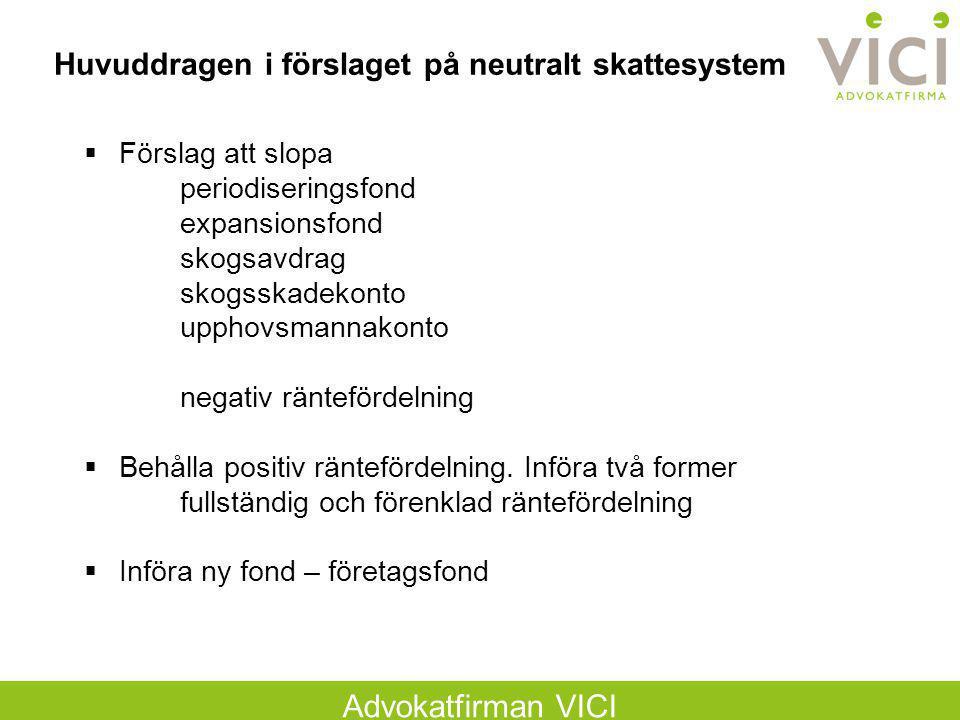 Huvuddragen i förslaget på neutralt skattesystem