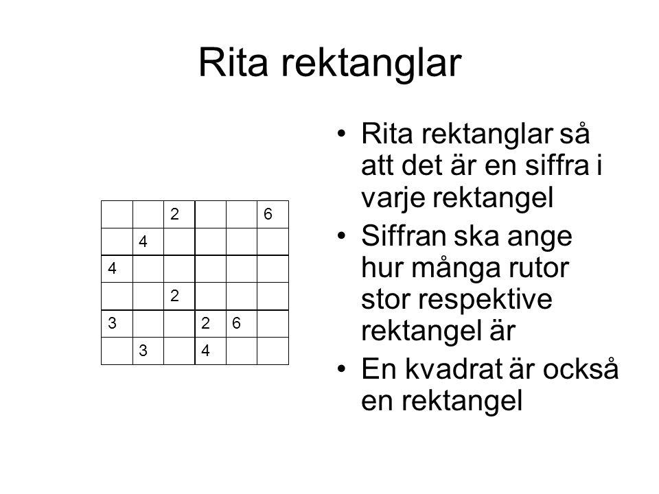 Rita rektanglar Rita rektanglar så att det är en siffra i varje rektangel. Siffran ska ange hur många rutor stor respektive rektangel är.