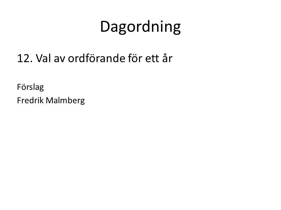 Dagordning 12. Val av ordförande för ett år Förslag Fredrik Malmberg