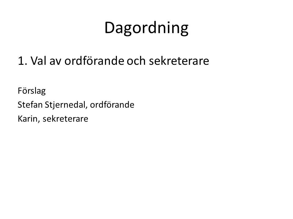 Dagordning 1. Val av ordförande och sekreterare Förslag