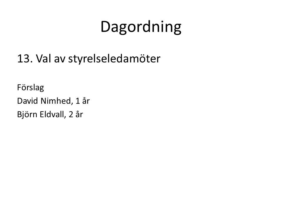 Dagordning 13. Val av styrelseledamöter Förslag David Nimhed, 1 år