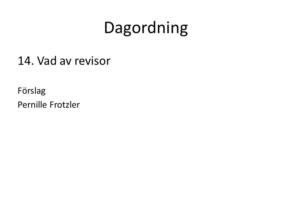 Dagordning 14. Vad av revisor Förslag Pernille Frotzler