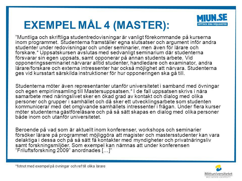 Exempel mål 4 (master):