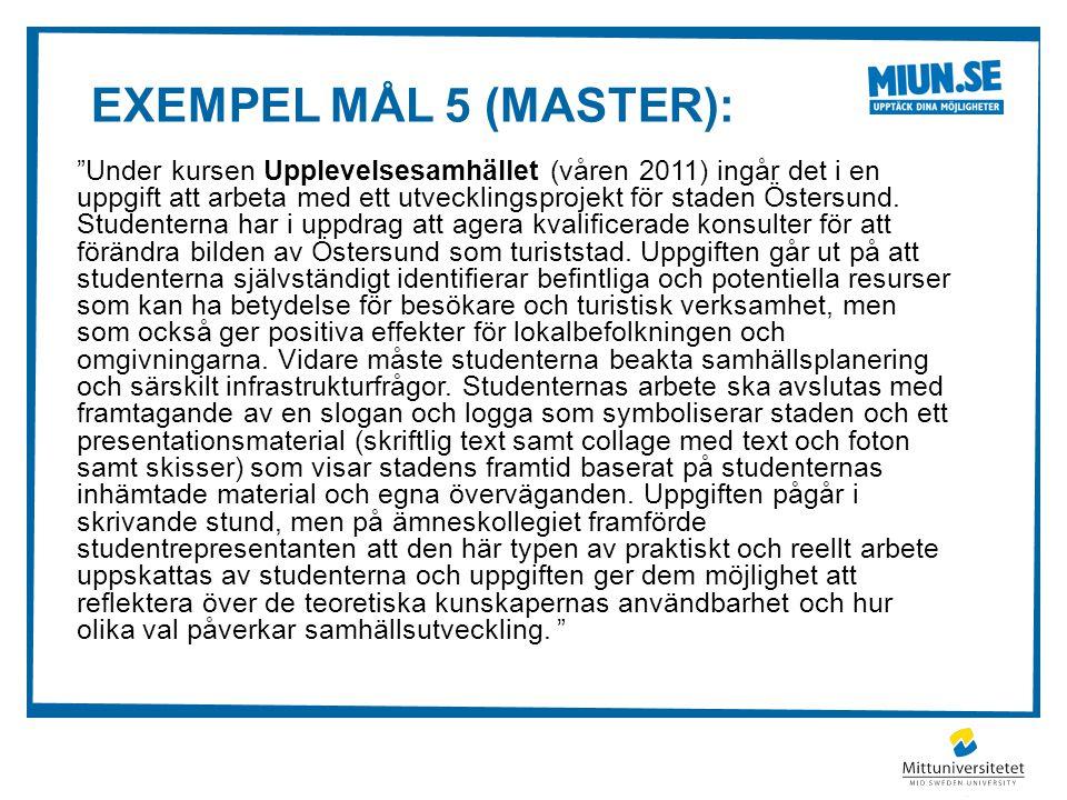 Exempel mål 5 (master):