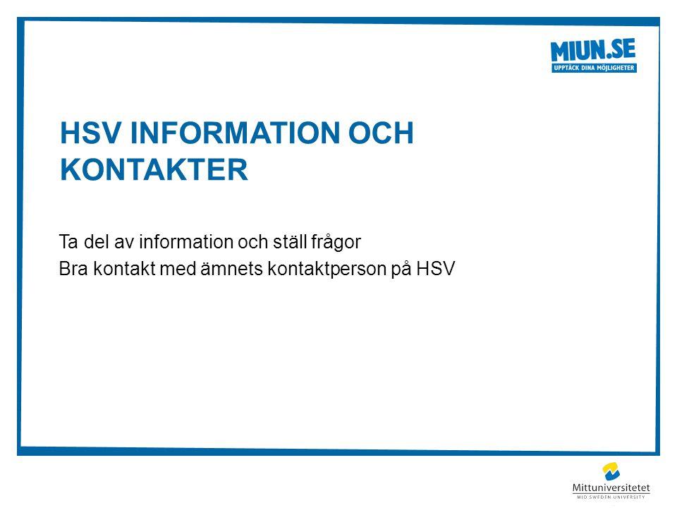 HSV information och kontakter
