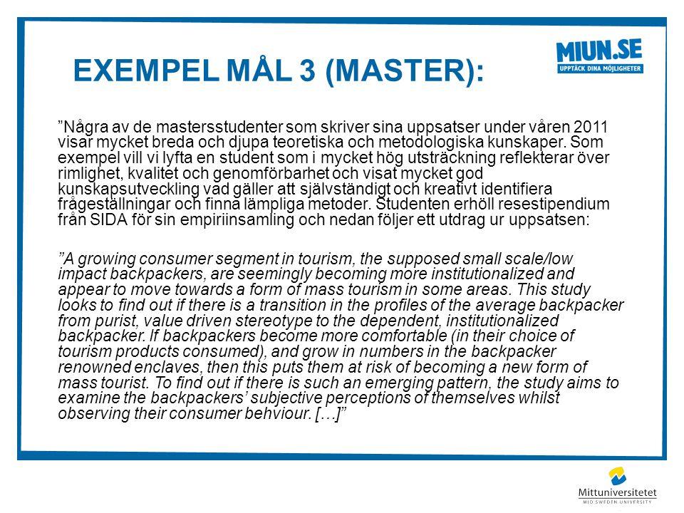 Exempel mål 3 (master):