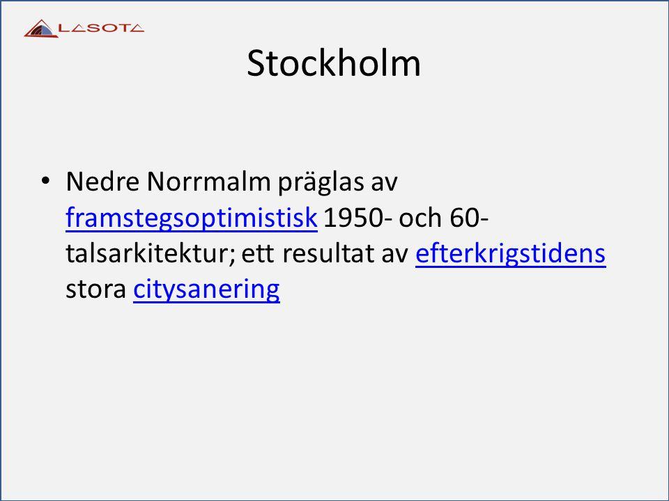 Stockholm Nedre Norrmalm präglas av framstegsoptimistisk 1950- och 60-talsarkitektur; ett resultat av efterkrigstidens stora citysanering.