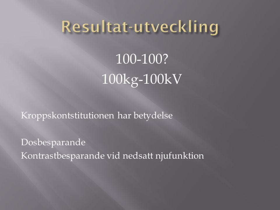 Resultat-utveckling 100-100 100kg-100kV