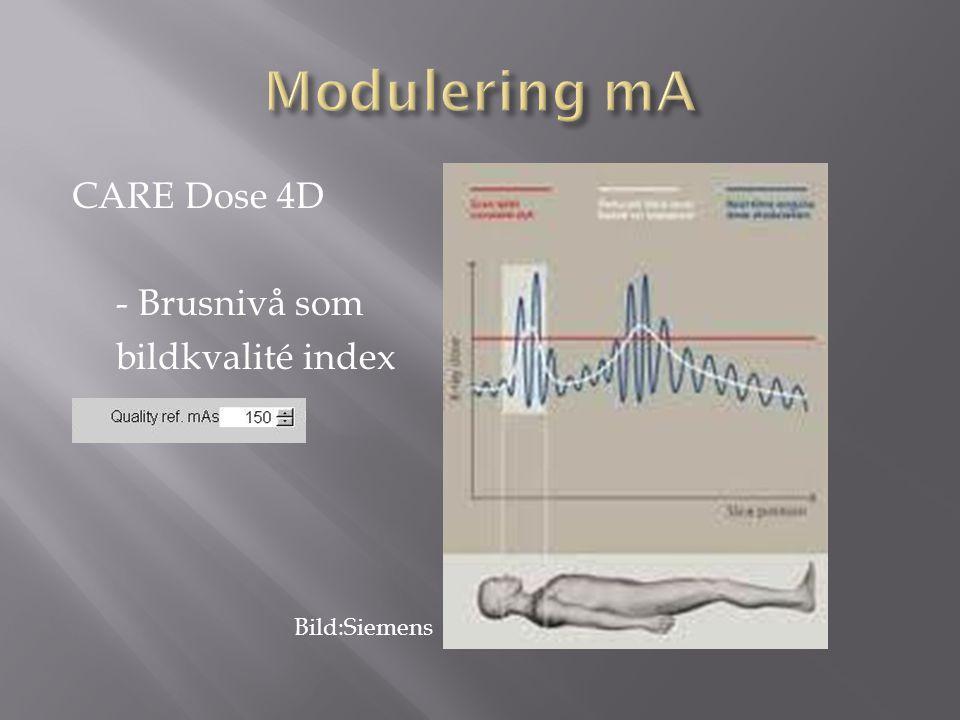 Modulering mA CARE Dose 4D - Brusnivå som bildkvalité index