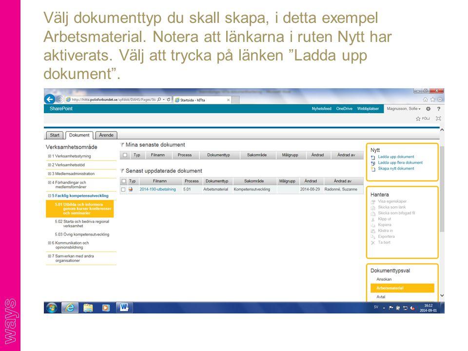 Välj dokumenttyp du skall skapa, i detta exempel Arbetsmaterial