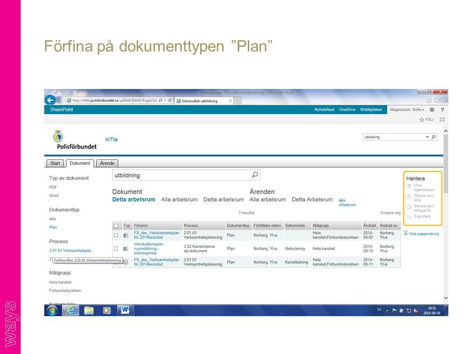 Förfina på dokumenttypen Plan