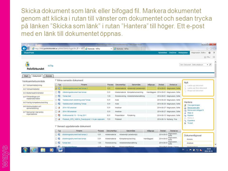 Skicka dokument som länk eller bifogad fil