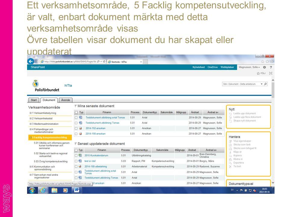Ett verksamhetsområde, 5 Facklig kompetensutveckling, är valt, enbart dokument märkta med detta verksamhetsområde visas Övre tabellen visar dokument du har skapat eller uppdaterat