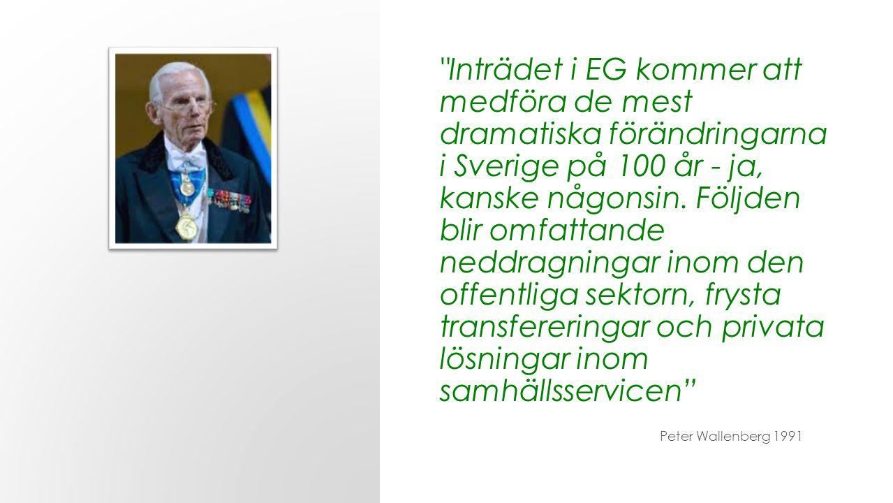 Inträdet i EG kommer att medföra de mest dramatiska förändringarna i Sverige på 100 år - ja, kanske någonsin. Följden blir omfattande neddragningar inom den offentliga sektorn, frysta transfereringar och privata lösningar inom samhällsservicen