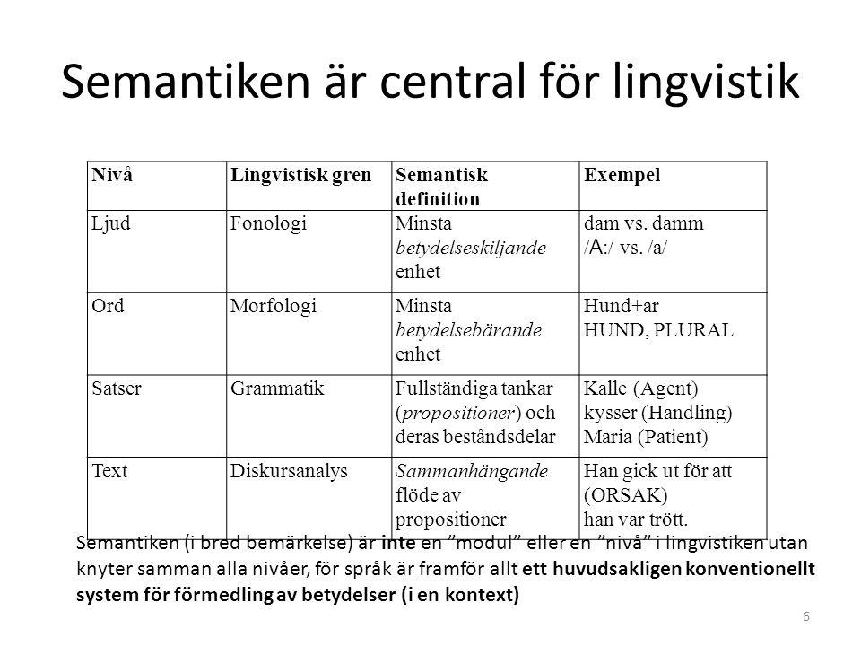 Semantiken är central för lingvistik
