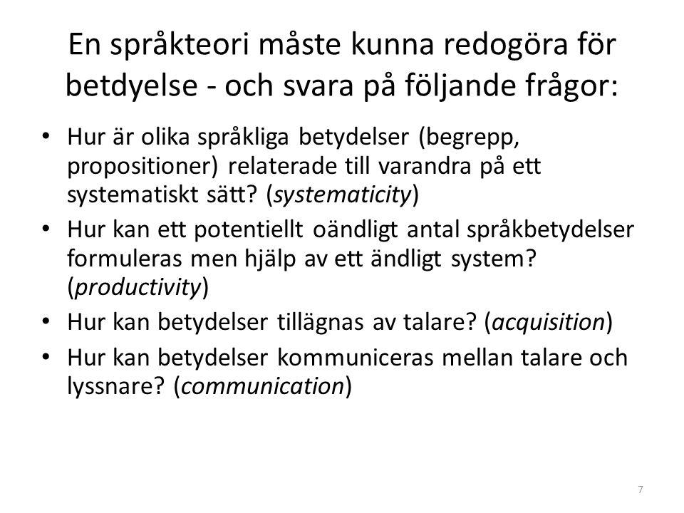 En språkteori måste kunna redogöra för betdyelse - och svara på följande frågor: