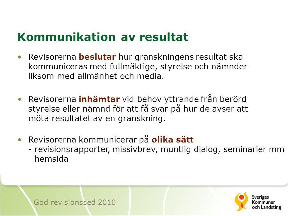 Kommunikation av resultat