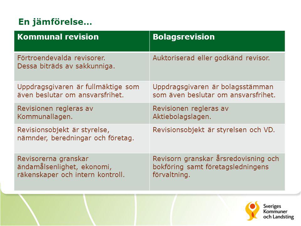 En jämförelse… Kommunal revision Bolagsrevision