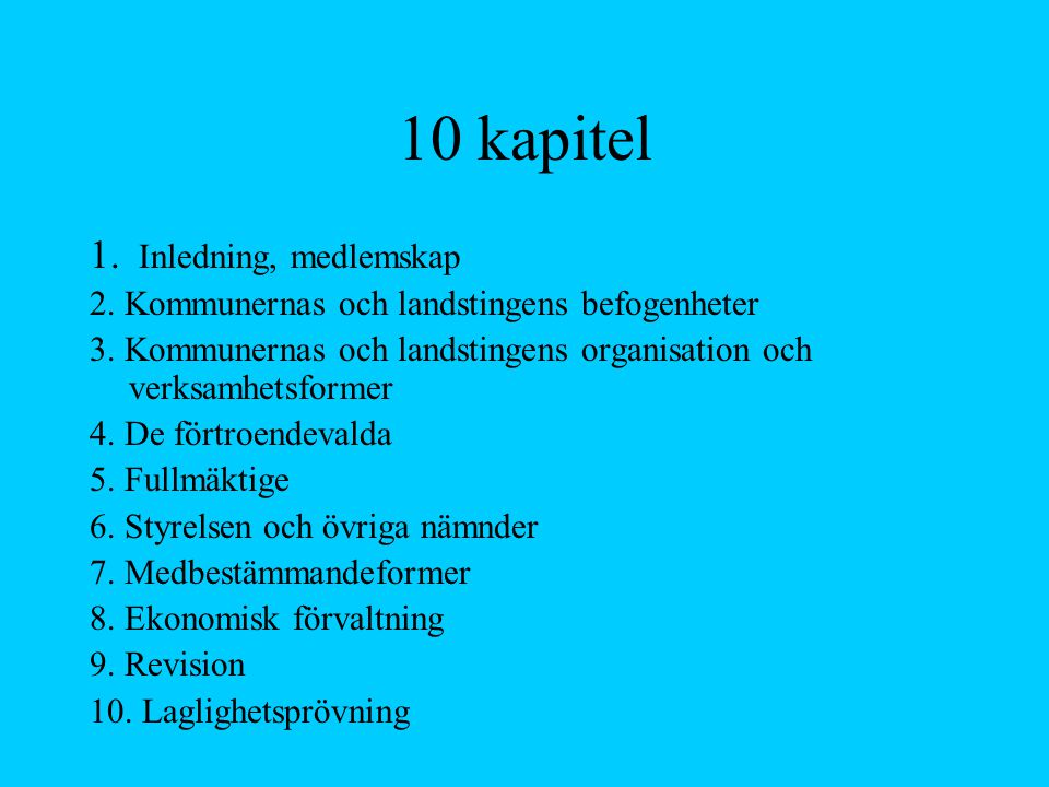 10 kapitel Inledning, medlemskap