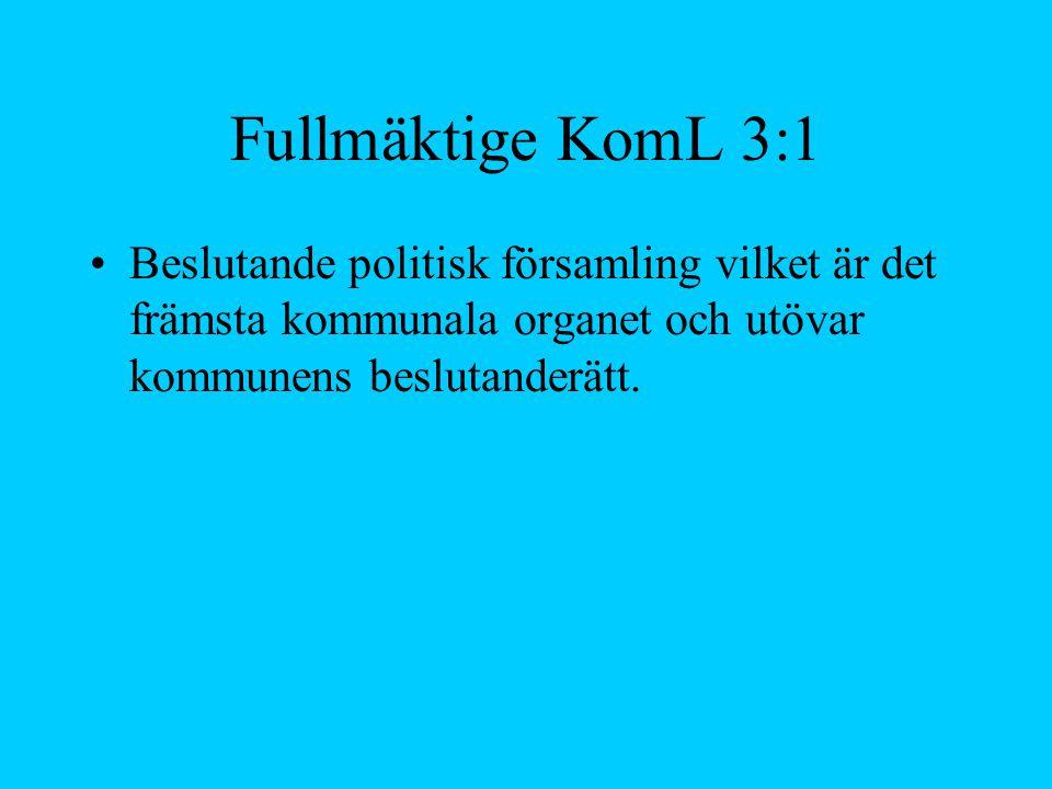 Fullmäktige KomL 3:1 Beslutande politisk församling vilket är det främsta kommunala organet och utövar kommunens beslutanderätt.