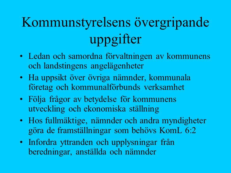 Kommunstyrelsens övergripande uppgifter
