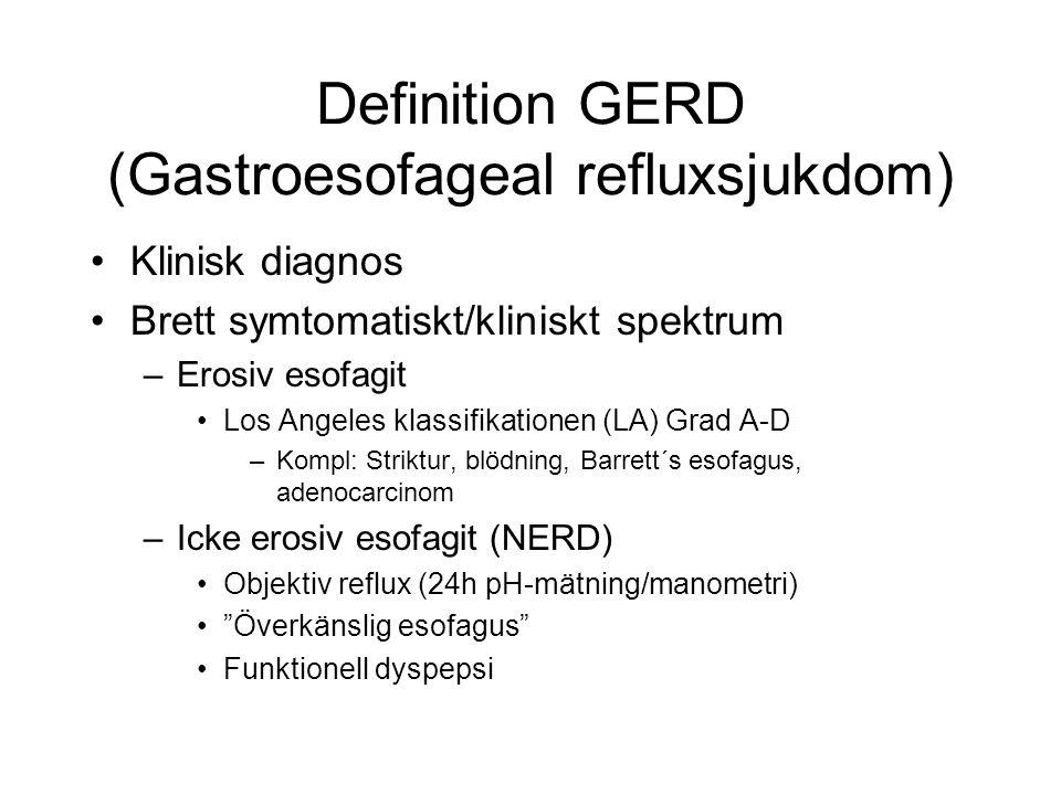 Definition GERD (Gastroesofageal refluxsjukdom)