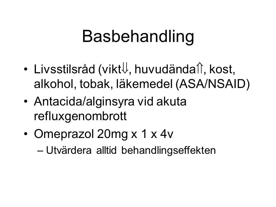 Basbehandling Livsstilsråd (vikt, huvudända, kost, alkohol, tobak, läkemedel (ASA/NSAID) Antacida/alginsyra vid akuta refluxgenombrott.
