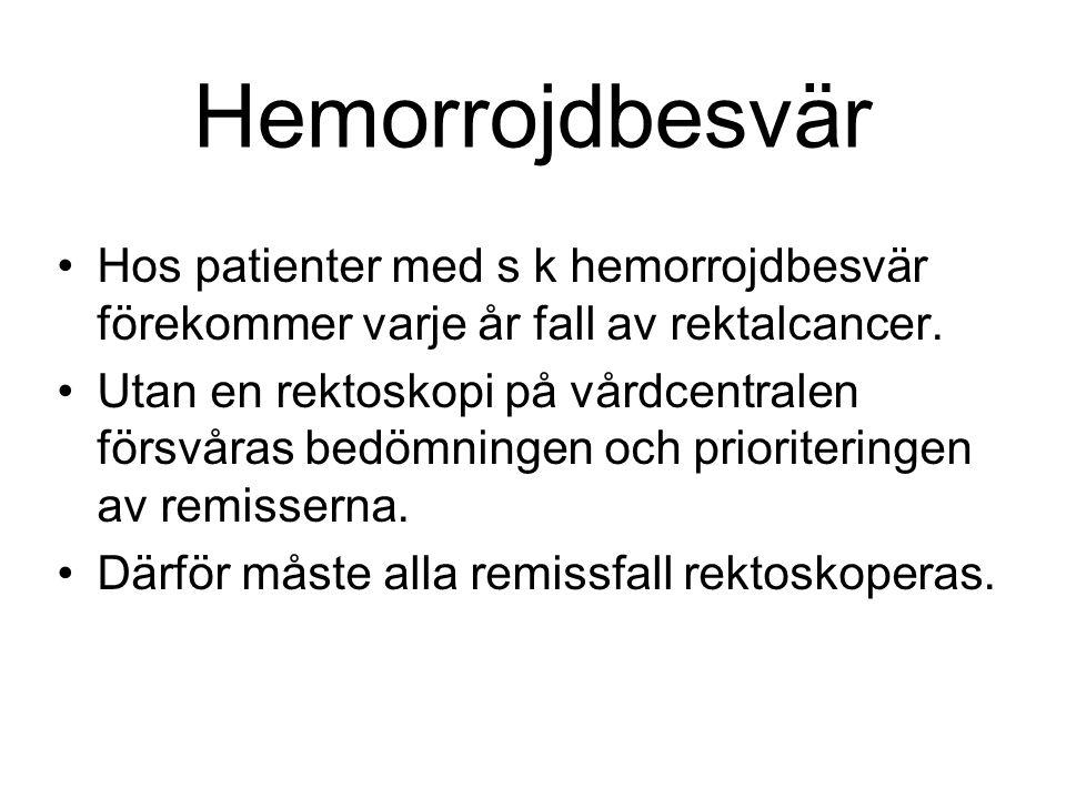 Hemorrojdbesvär Hos patienter med s k hemorrojdbesvär förekommer varje år fall av rektalcancer.