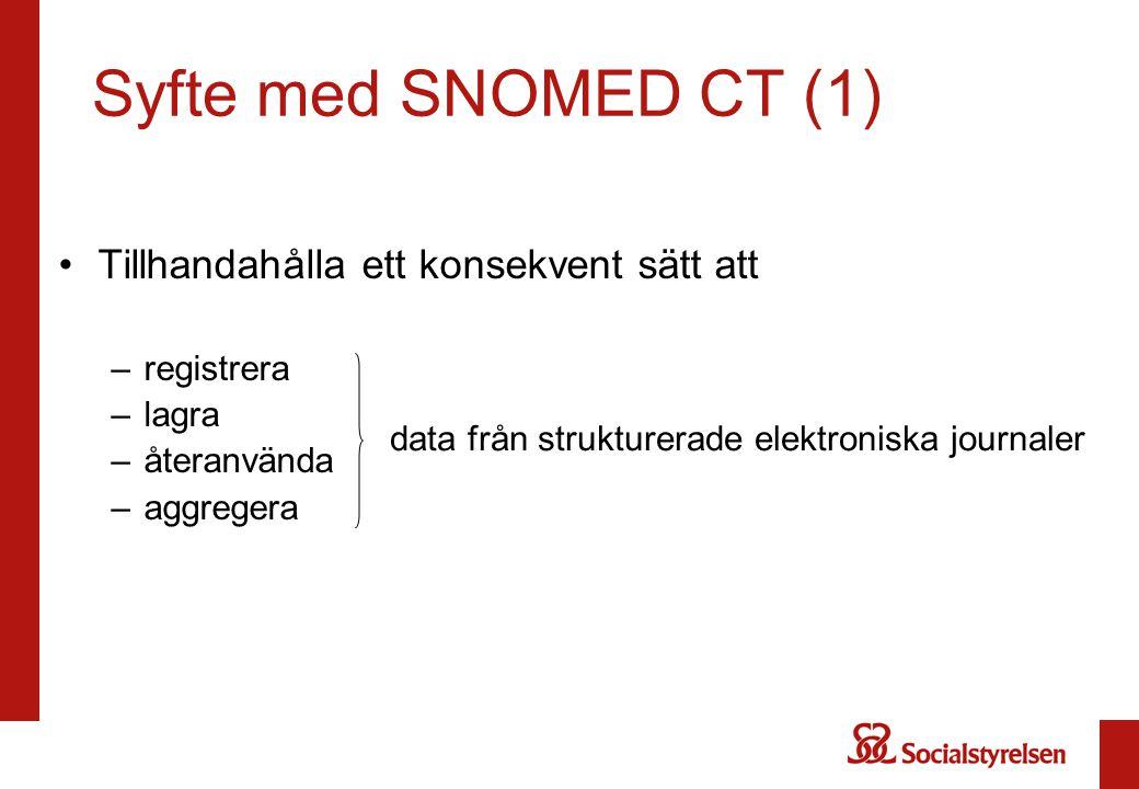 Syfte med SNOMED CT (1) Tillhandahålla ett konsekvent sätt att