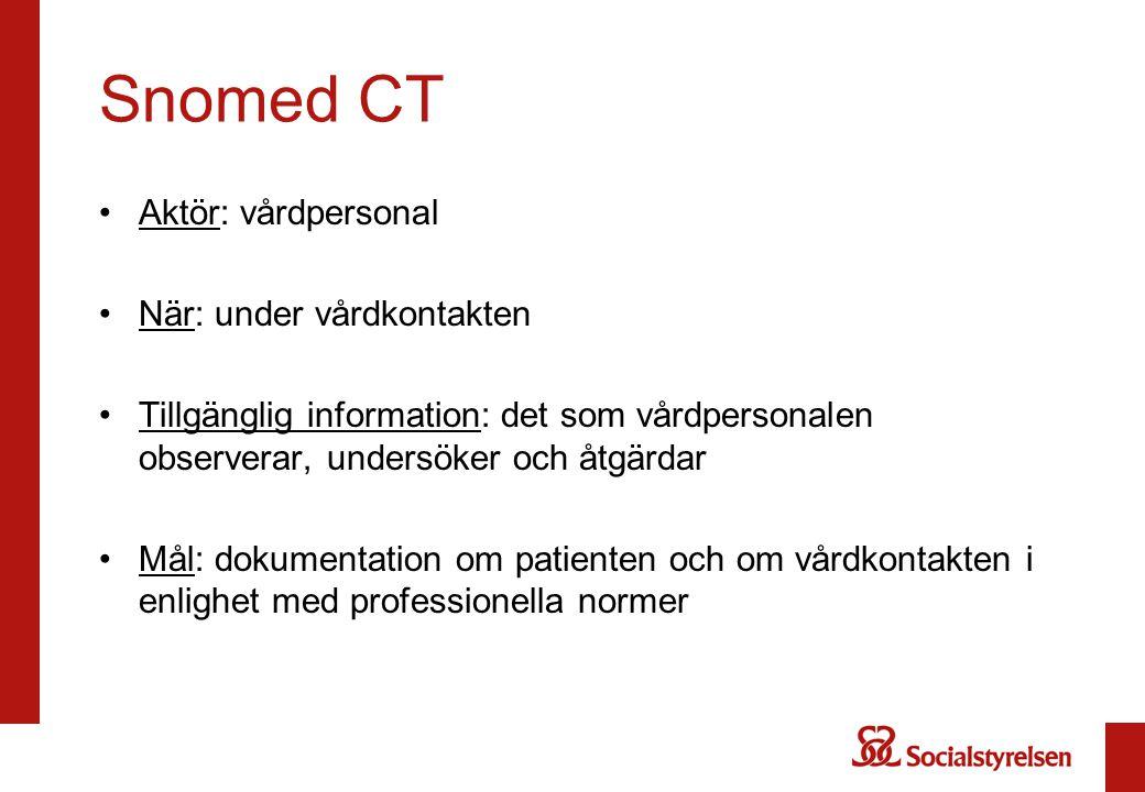 Snomed CT Aktör: vårdpersonal När: under vårdkontakten