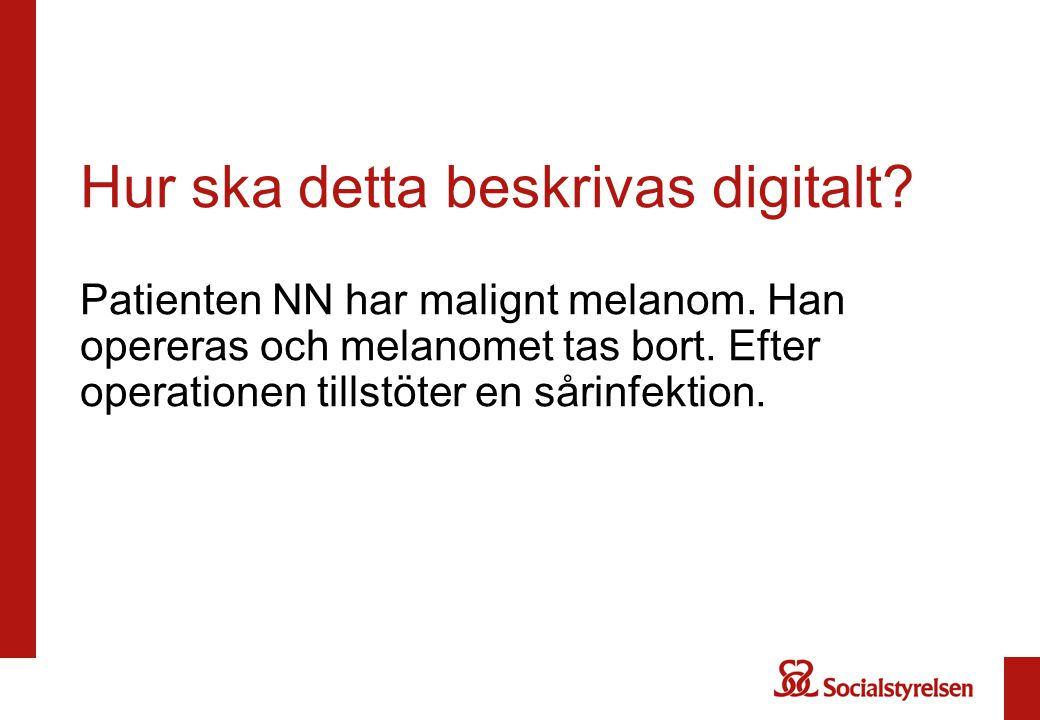 Hur ska detta beskrivas digitalt. Patienten NN har malignt melanom