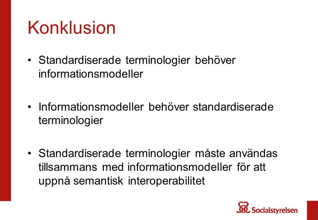 Konklusion Standardiserade terminologier behöver informationsmodeller