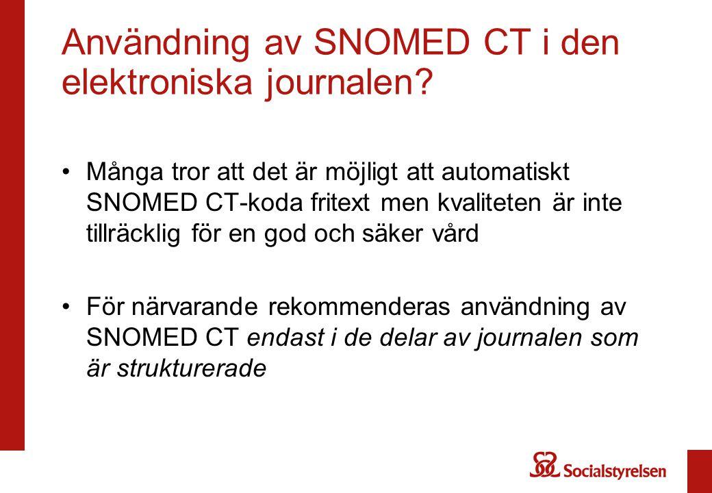 Användning av SNOMED CT i den elektroniska journalen