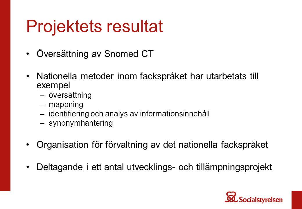 Projektets resultat Översättning av Snomed CT