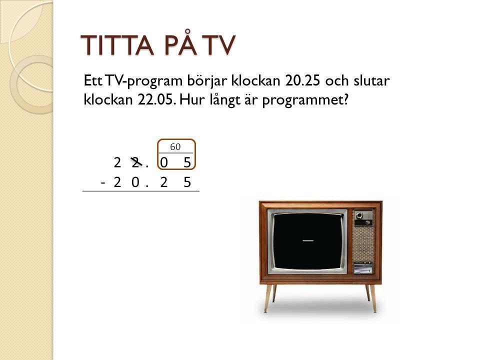 TITTA PÅ TV Ett TV-program börjar klockan 20.25 och slutar klockan 22.05. Hur långt är programmet 2.