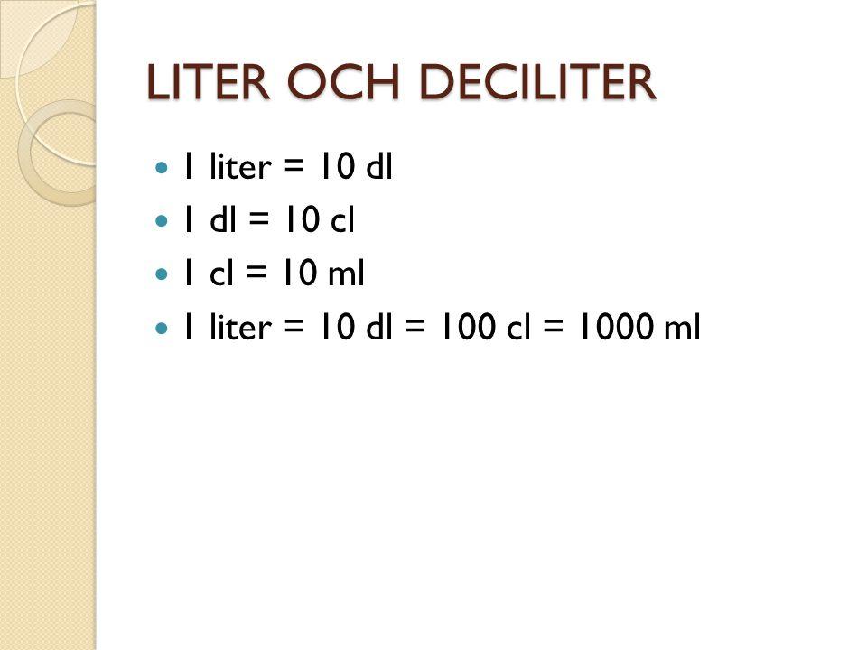 LITER OCH DECILITER 1 liter = 10 dl 1 dl = 10 cl 1 cl = 10 ml