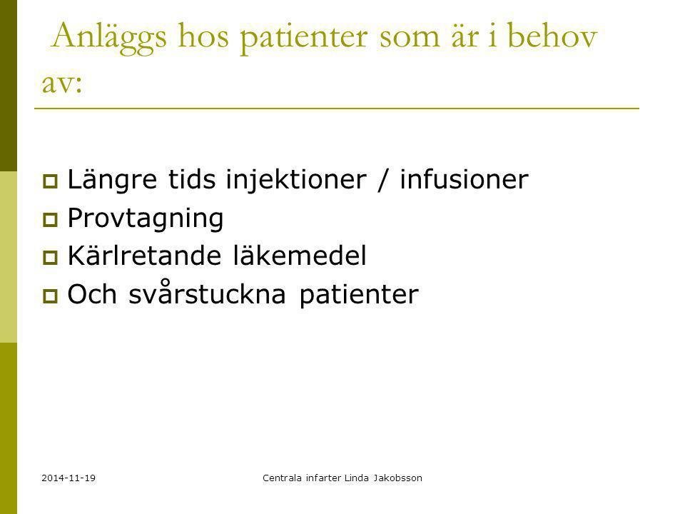 Anläggs hos patienter som är i behov av: