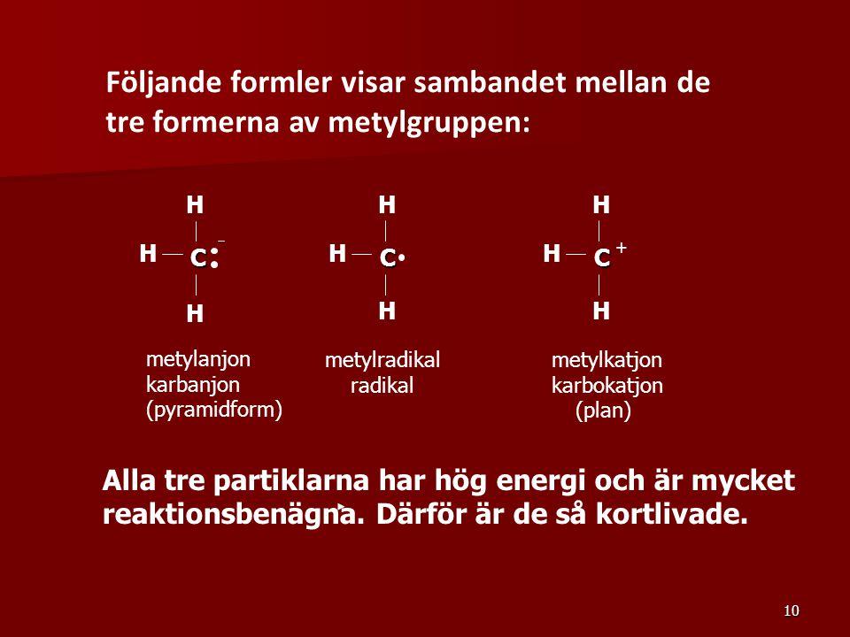 Följande formler visar sambandet mellan de