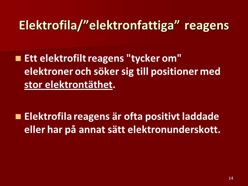 Elektrofila/ elektronfattiga reagens