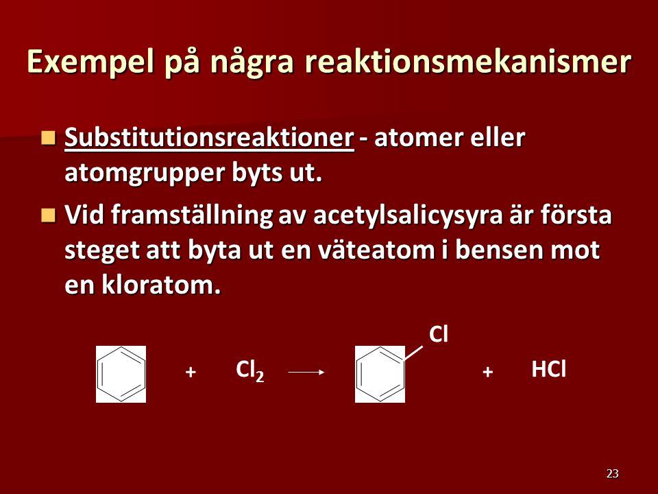 Exempel på några reaktionsmekanismer