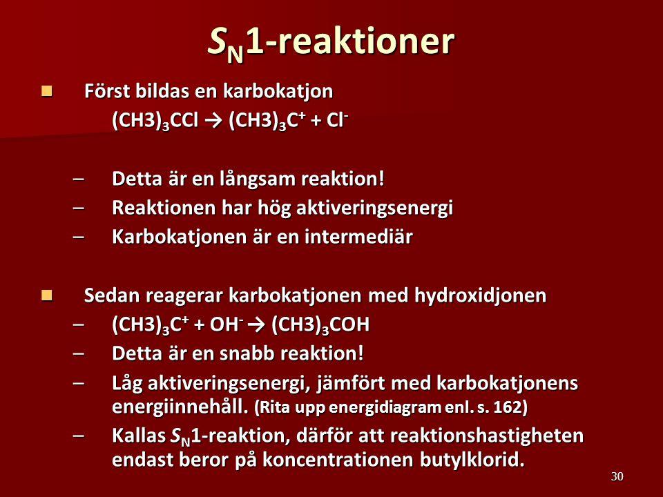 SN1-reaktioner Först bildas en karbokatjon (CH3)3CCl → (CH3)3C+ + Cl-